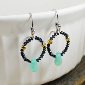 Beaded hoop earrings, crystal beaded earrings, Mint green jewelry, chinese crystal beads, black and gold earrings, wire hoop earrings