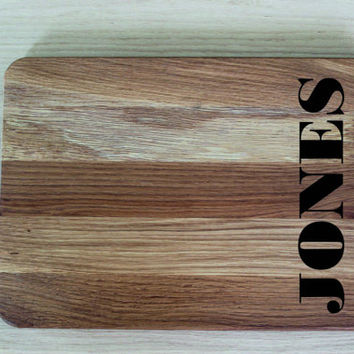 Wedding Gift cutting board with initials Oak Custom Cutting Board Wedding Gift Kitchen Decor