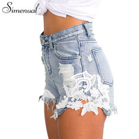 Simenual Splice lace denim shorts women 2017 summer fashion ripped tassel jeans short feminino vintage high waist slim short hot
