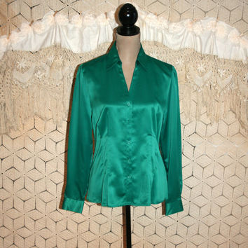 Christmas Green Blouse Green Satin Blouse Dressy Blouse Long Sleeve Blouse Button Up Blouse Tailored Shirt Women Tops Large Womens Clothing