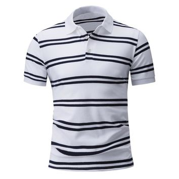 2017 Fashion Summer Striped T Shirt Men Casual Turn Down Collar Short Sleeve Tops Tees Plus Size T-Shirts