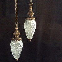 Vintage Mid Century Crystal Pineapple Double Hanging Light Fixture Frederick Ramon