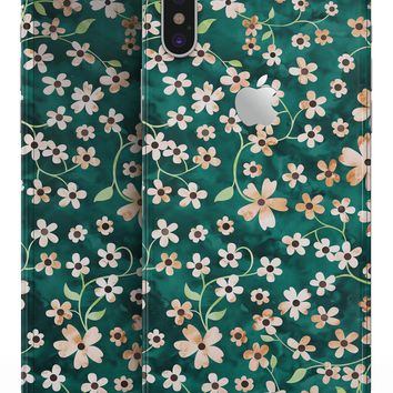 Flowers with Stems over Deep Green Watercolor - iPhone X Skin-Kit