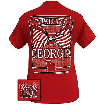 New Georgia Bulldogs Tied To Georgia Big Prep Bow Girlie Bright T Shirt