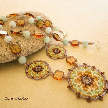 Beadwork Necklace - mint green lavender amber - tribal - boho jewelry - Sap Moon mandala art - huichol jewelry - spring