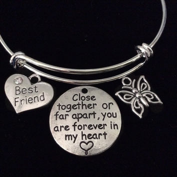 Best Friends Silver Expandable Charm Bracelet Adjustable Bangle Trendy Gift BFF