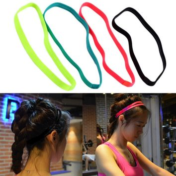 Men Women Yoga Hair Bands Sports Headband Anti-Slip Elastic Rubber Sweatband Yoga Running Football Biking Free Shipping
