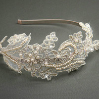 Vintage Champagne Lace Headband with Pearls, Sequins and  Swarovski  Crystals