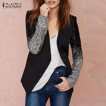 DCCKWQA Zanzea Fashion Women Jacket Coat 2016 Blazers Suit Spring Autumn Long Sleeve Lapel Silver Black Sequin Elegant Blazer feminino