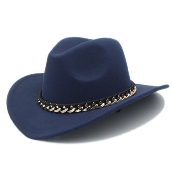 Fashion Wool Women Men's Western Cowboy Hat For Gentleman Cowgirl Jazz Church Cap With Leather  Cloche Sombrero Cap