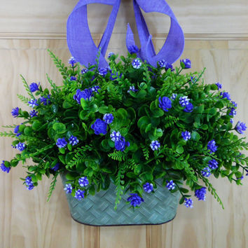 spring wreath -purple tulip wreath - monogram wreath - wreaths - mothers day - door wreath - summer wreath