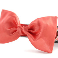 Coral Bow Tie Dog Collar - Dog Bow Tie Collar - Wedding Attire for Dogs - dog wedding - salmon satin dog bow tie - formal dog bow tie