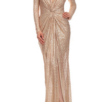 Runway Sexy Sequin Sequined maxi Dress long Bridesmaid Gown in Gold