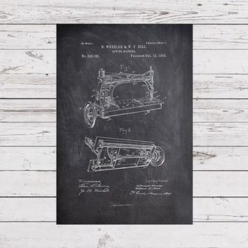Sewing Machine Poster, Sewing Machine Patent, Sewing Artwork, Sewing Machine Blueprint, Seamstress Art, Sewing Poster