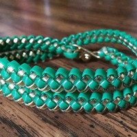 Green and Gold Rexlace Woven Wrap Bracelet