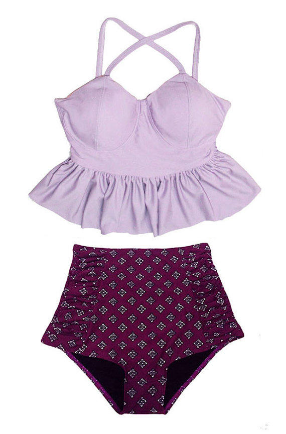 Lavender Long Peplum Top And Burgundy From Venderstore On Etsy