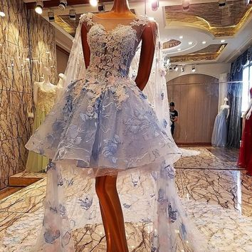 Short Evening Dress with Long Cape Ball Gown