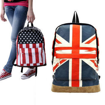 Flag Pattern Unisex Canvas Teenager School Bag Book Campus Backpack 2 Style BS88