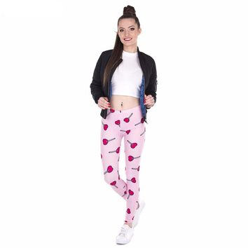 Heart Lollipop Pink Leggings