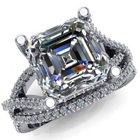 Fontaine Asscher Moissanite Diamond Gallery Infinite Shank Prong-Set Ring