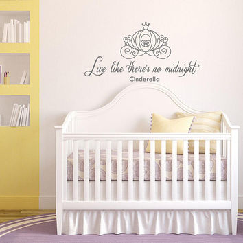 Live Like There's No Midnight CINDERELLA Vinyl Wall Decal Nursery, Cinderella Carriage Decal, Cinderella Wall Decor, Fairy Wall Decal K188