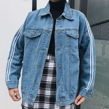 College Wind Denim Jacket Women's 2018 Autumn and Winter New Fashion Loose Striped Denim Jacket Vintage Lapel Old Jacket #113