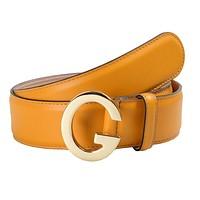Gucci Unisex Mustard Yellow Buckle Decorated Leather Belt