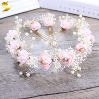 Fashion Preserved Flowers Headband Pearl Jewelry Tiara Women Crown Wedding Hair Accessories Rose Flower Hairbands Hairpins 89430