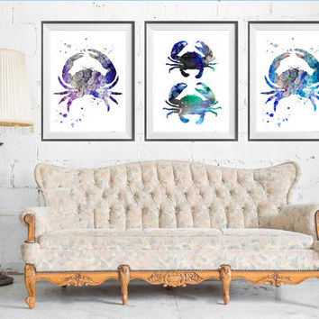 Crab SET Watercolor art Print, Lobster art, Crab art, Crab print, animal art, sea set, sea art, Nautical, Ocean Life, Buy 2 Get 1 FREE