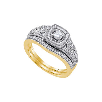 10k Yellow Gold Womens Round Diamond Filigree Bridal Wedding Engagement Ring Band Set 3/8 Cttw 92172