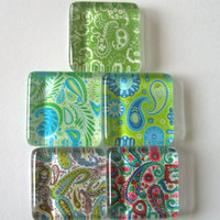 Lots of Paisley Square Glass Magnets Set of 5