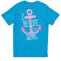 Bjaxx Refuse to Sink Anchor Turquiose Christian Girlie Bright T Shirt