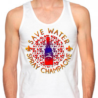 Rave Clothes - Save Water Spray Champagne - Mens Neon Tanks and Tees - Bad Kids Clothing | Bad Kids Clothing
