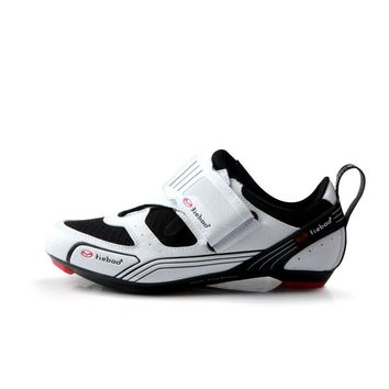 TIEBAO R1691 Outdoor Triathlon Cycling Shoes Fiberglass-Nylon Outsole Bicycle Shoes LOOK-KEO Cleat Compatible Bike Shoes