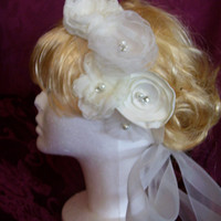 Ivory Organza Ribbon Bridal Headband, Wedding Floral Hairband, Organza Bridal Sash, Also in White