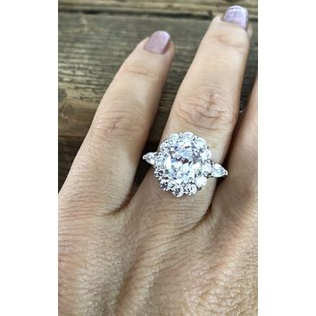 A Flawless 4.3CT Oval Cut Halo Russian Lab Diamond Engagement Ring