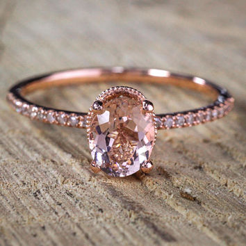 Oval cut Solitaire Morganite & Diamond Halo Engagement Ring on Sale: 1.25 Carat Morganite Solitaire Engagement Ring in Rose Gold Cheap Sale