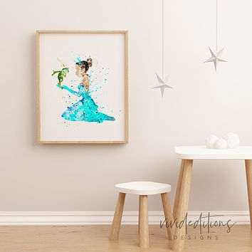 Princess Tiana Watercolor Art Print
