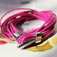 Graduation Gift Multilayer Natural Purple Leather Tube Unique Stylish Adjustable Metal Buckle Wrap Bracelet  M-39