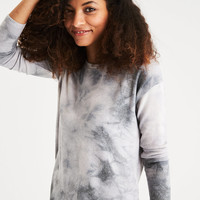 AEO Soft & Sexy Plush Drop-Shoulder Sweatshirt, Gray
