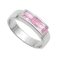 Sterling Silver Baguette Invisible Strip CZ Tourmaline 4MM CZ Petite Rings