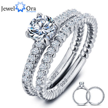 Luxurious Wedding Engagement Ring Bridal Sets 925 Sterling Silver White Cubic Zirconia Rings For Women (JewelOra RI101611)