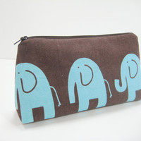 Elephant Accessory Pouch, Elephant Cosmetics Pouch, Cosmetic Bag, Zippered Pouch, Pencil Case, Elephant Print, Brown and Aqua