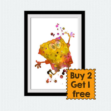 Sponge Bob Square pants print Sponge Bob watercolor poster Home decoration Kids room wall art Nursery room decor Square Pants poster W646