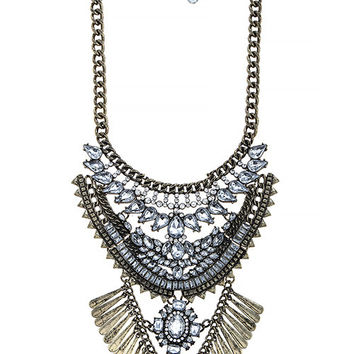 TIERED FAUX JEWELED FRINGED BIB NECKLACE SET