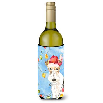 Christmas Lights Fox Terrier Wine Bottle Beverage Insulator Hugger CK2501LITERK