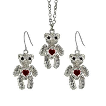 Darling silver plated cz covered teddy bear necklace set