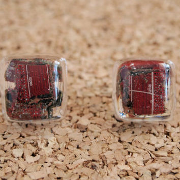 Recycled Computer Earrings - motherboard pieces red resin square studs handmade FREE shipping to USA
