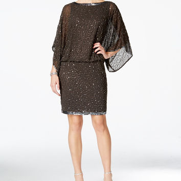 J Kara Beaded Blouson Cocktail Dress