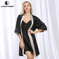 New Sexy Silk Like Sleepwear Women Robe Sets Robe &amp Nightgown Set Pajama Sleeping Dress